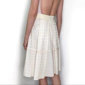 Les Copains Paris cream eyelet A-line skirt